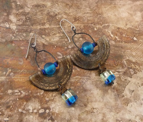 Recycled tin and blue glass bead earrings