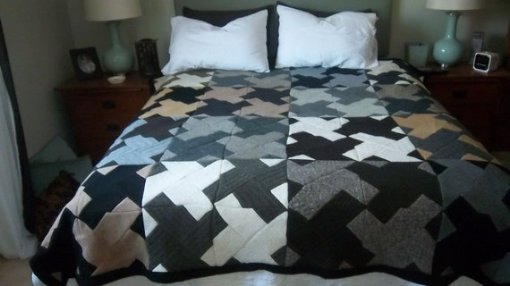 Recycled Handmade Felted Wool Quilt or Throw
