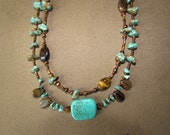 Turquoise tigers eye and copper necklace double strand 18""