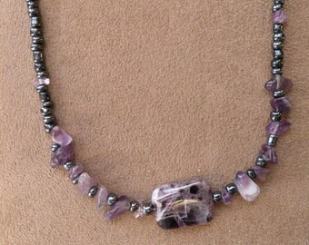 "Amethyst pendant with amethyst chips necklace 17"" February birthstone"