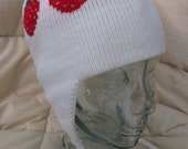 Knit Earflap Hat with Strawberries