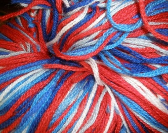 Vintage Variegated Wool (Crazy) Hand Tied Yarn Patriot Mix 10 ounces Great for Knit Crochet needlepoint crewel embroidery & purse pattern