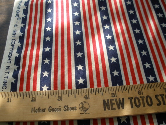 "Fab vintage fabric -Patriotic Stars & Stripes on Ecru Cotton Quilt Fabric 4 Yards 45""W x 144"" L yardage Fabric Traditions 1991"