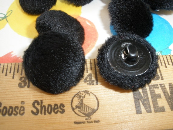 """Steampunk Black Faux Fur Fabric Covered Buttons -8 shank style size 36L (7/8"""" 22MM) Kitsch & Cool sewing craft scrapbook eco friendly velour"""