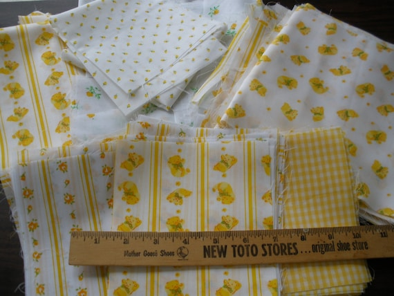 Fab vintage calico fabric -Pre-cut 5.5 inch yellow quilt squares for Quilting & Crafts cool bears and flower prints Reuse Upcyle