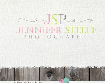 Premade Logo - photography logos - Swirls and Heart Logo Watermark Design Name Text Logo  logos for photographers - watermark designs logos