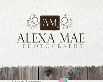Premade Logo photography logo Vintage logos Frame logo logos with Swirls Initials Logo Watermark Design for photographers shop logo clothing