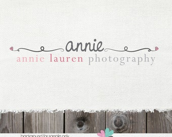 Hand Drawn Premade Logo Design with Swirls  - Swirl Photography Photographers Shop Logo Watermark Design