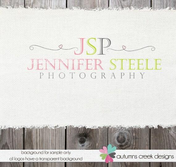 Premade Logo - photography logos - Swirls and Heart Logo Watermark Design Name Text Logo  logos for photographers - watermark designs logos