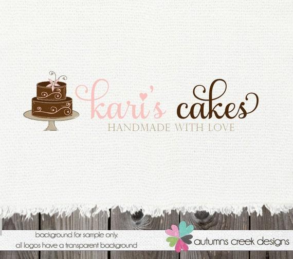 Premade Logo Design- Cake Swirls bakery Shop Logo Design- OOAK Hand Drawn