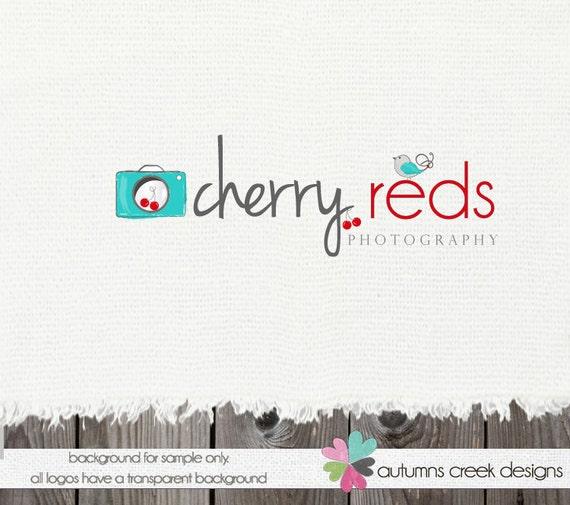 Premade Logo Design - Hand Drawn Camera Cherry Bird Photographer Photography Design OOAK