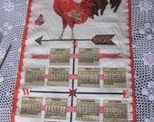 Vintage 1959 Luther Travis Linen Calendar ROOSTER