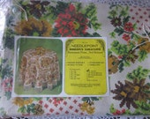 Vintage Fringe Tablecloth Needlepoint Homespun Round NIP