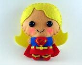 Supergirl felt plush doll in a kawaii style