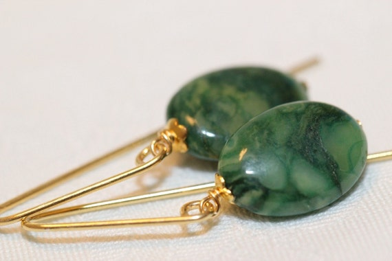 Gold Earrings with African Jade