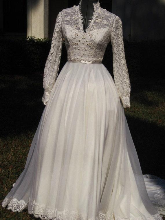 Vintage 70s wedding dress kate style wedding dress reserved for amber