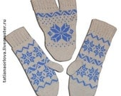 "5 Scandinavian winter autumn grey and blue knit wool mittens ""never-apart"" with snowflakes couple gift CUSTOM MADE"