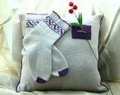Grey and purple CUSTOM MADE Scandinavian pattern rustic fall autumn winter knit short wool socks present gift