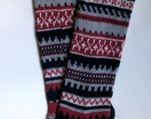 Back to school Scandinavian pattern rustic autumn fall knit knee-high dark blue red white wool socks Christmas gift CUSTOM MADE