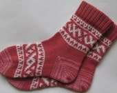 Rosewood and whiteCUSTOM MADE Scandinavian pattern rustic fall autumn winter knit short wool socks present gift