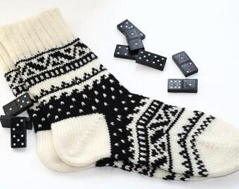 Black-and-white CUSTOM MADE Scandinavian pattern rustic fall autumn winter knit short wool socks present gift