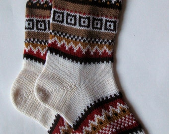 Coffee brown orange bamboo mustard yellow red CUSTOM MADE Scandinavian pattern rustic fall autumn winter knit short wool socks present gift