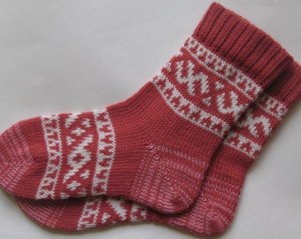 Coral and white CUSTOM MADE Scandinavian pattern Rustic Fall Spring Winter knit short Wool Socks Present Gift