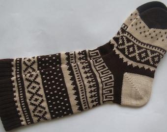 Coffee brown CUSTOM MADE Scandinavian pattern rustic fall autumn winter knit knee-high wool socks present gift