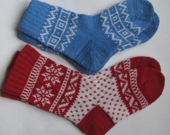 2 pairs red white blue warm fall autumn winter Scandinavian pattern knit wool short socks CUSTOM MADE