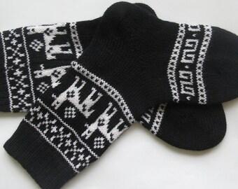 Black white CUSTOM MADE Scandinavian pattern rustic fall autumn winter knit short wool socks present gift