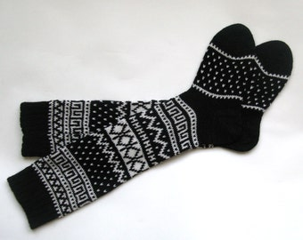 Back to school Scandinavian pattern rustic autumn fall knit knee-high black and white wool socks CUSTOM MADE