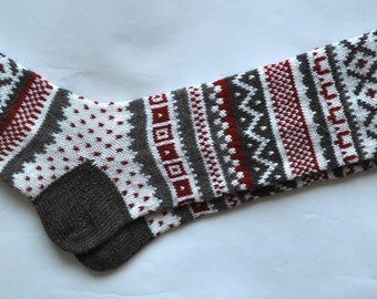 Grey white red CUSTOM MADE Scandinavian pattern rustic fall autumn winter knit knee-high wool socks present gift