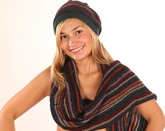 Striped blue red orange white green winter autumn CUSTOM MADE knit wool set: beret hat and scarf