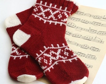 Red white CUSTOM MADE Scandinavian pattern rustic fall autumn winter knit short wool socks present gift