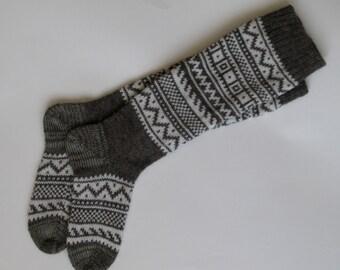 Grey  white  CUSTOM MADE Scandinavian pattern autumn fall winter knit knee-high Natural sheep wool socks Christmas gift