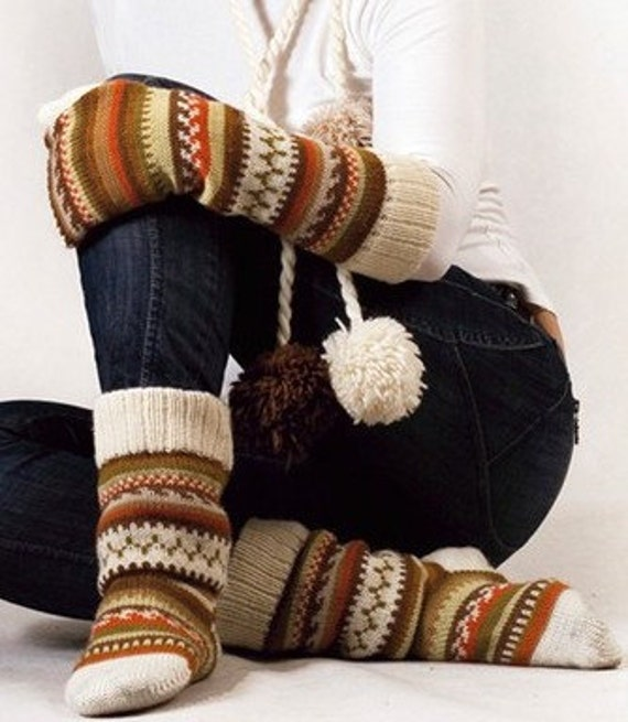 Scandinavian pattern winter set: brown mustard yellow white orange green knit wool hat socks mittens CUSTOM MADE