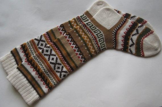 Coffee brown orange red grey CUSTOM MADE Scandinavian pattern rustic fall autumn winter knit knee-high wool socks present gift