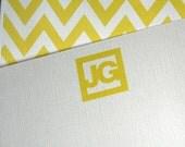 Stationery - Personalized - Yellow Chevron Monogram