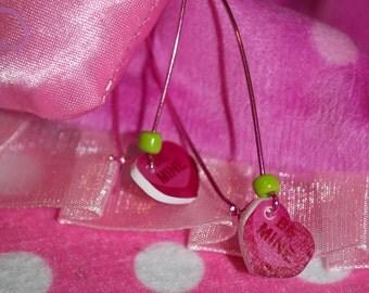 Sweet Tart - Pink Plastic Candy Heart Hoop Earrings.