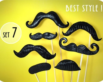 Plastic Mustache on a stick - Set of 7