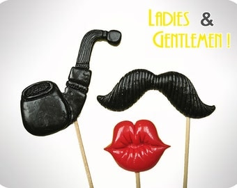 Set of 3 - Plastic pipe, mustache and lips on a stick