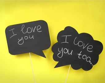 2 Photobooth Chalkboards Signs - Wedding,  party, photobooth props