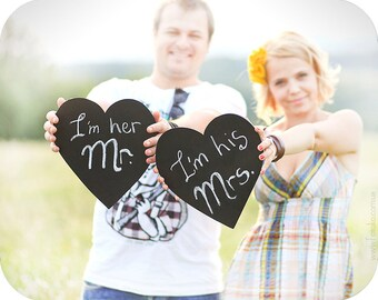 2 Hearts Photobooth Chalkboards on a stick - Wedding, party photobooth, photography props