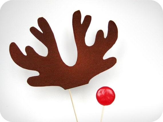 weihnachten rentier geweih und rote nase auf sticks urlaub. Black Bedroom Furniture Sets. Home Design Ideas