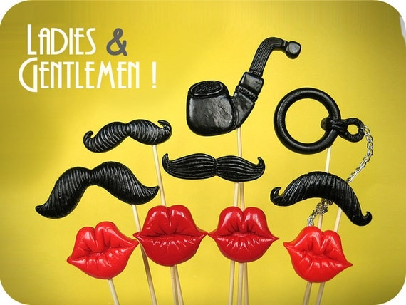 Plastic mustaches, lips, pipe and monocle on a stick - Super mix props on stiks- Set of 10