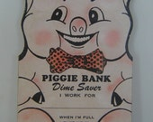 Adorable 1954 Child's  Piggie Dime Saver Collector Book St. Augustine Florida