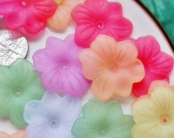 Acrylic Flower Beads - Mixed Color 30mm Impatiens