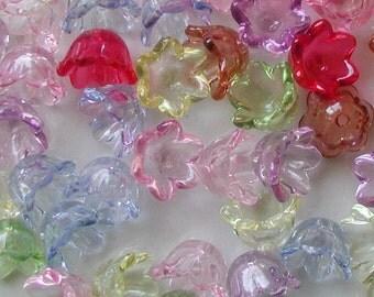 40pcs Transparent Acrylic Lucite Flower Bells Beads - Mixed Color 10mm