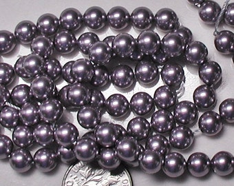 Mauve Swarovski Crystal Pearls 6mm Round Qty 10