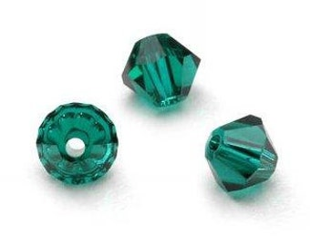 Swarovski Crystal Beads 4mm Bicone Xilion ( 5328 ) - Emerald Green  Qty 24